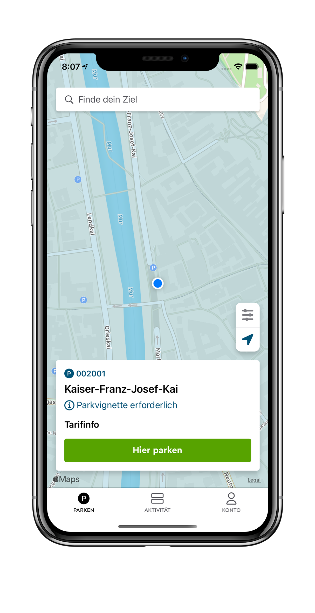 iPhone X showing the PARK NOW parking process